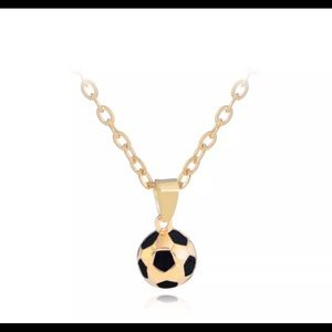 SILVER or GOLD + BLACK SOCCER BALL NECKLACE